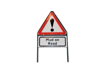 Folding Metal Sign 600mm (Men at Work-Mud on Road