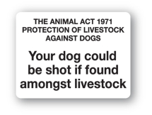 Sign - Your Dog Could be Shot (480mm x 360mm)