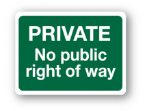 Sign - Private No Public Right (480mm x 360mm)