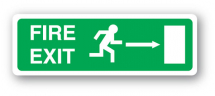 Sign - Fire Exit & Right Arrow (400mm x 150mm)