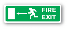 Sign - Fire Exit & Left Arrow (400mm x 150mm)