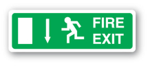 Sign - Fire Exit & Down Arrow (400mm x 140mm)