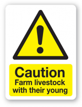 Sign - Caution Farm Livestock 480 x 360