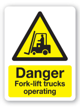 Sign - Caution Forklift Trucks (480mm x 360mm)