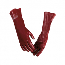 Red PVC Open Wrist Gloves 18